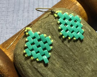 Aqua Dangle Earrings Teal Dangles Bead Weave Earrings Aqua Dangles Bead Weave Dangles Tila Bead Earrings Tila Bead Dangles