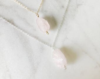 The Rose Necklace - Raw Rose Quartz Necklace - Raw Stone Jewelry - by Kristin&Co on Etsy