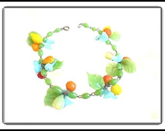 Carmen Miranda Fruit Bracelet - Blue Glass Birds, Lemons, Oranges, Raspberries, Pears, Apples Beads - Beaded Charms  - Brac-1397a-061417075
