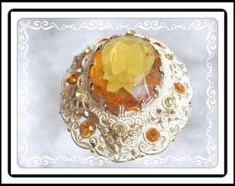 Victorian Revival Oval Rhinestone Pin - Cottage Chic White Enamel Brooch - Citrine & Topaz Rhinestones - Signed Germany Pin-1330a-111914015