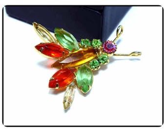 Vintage Darling Colorful D&E Bug Brooch - Juliana Bug w Amber Green Orange Clear Navettes and AB Chatons - Pin-999a-071317035