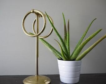 Brass Free Standing Hand Towel Holder, Vintage Gold Bathroom Accessory