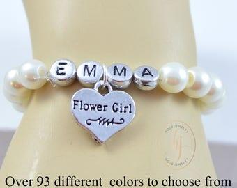 Name Flower Girl Bracelet, Personalized Bracelet,Wedding Jewelry, Pearl Bracelet, Flower Girl Gift, Flower Girl Jewelry, Monogram, Custom