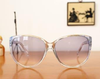 Vintage Sunglasses 1980's Oversized Clear Blue and By Foster Grant New Old Stock Made In USA Lightly Tinted  lens Cheap!