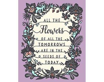 Tomorrow's Flowers - 5x7 Print - Original Papercut Illustration - Fine Art Print