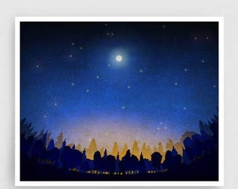 30% OFF SALE: The secret of the night forest - Art Illustration Print Poster Nature Art Home decor Nature prints Kids wall art Blue Night sk