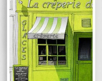 30% OFF SALE: La creperie - Paris illustration Fine art illustration Mixed media illustration Prints Posters Paris decor Paris cafe City pri
