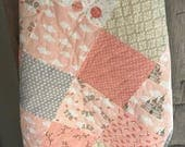 Reserved for Charlotte- Storybook Baby/ Toddler Quilt, Patchwork Pink and Grey- READY TO SHIP!