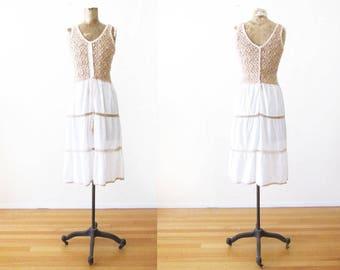 70s dress - crochet sundress - 1970s knit dress - bohemian dress - boho sundress - tan white dress - bohemian clothing - crochet dress XS