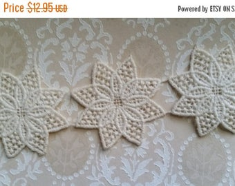 ON SALE 25% OFF 6 Antique Ivory Lace Flower Appliques