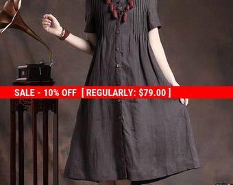 SALE! Linen Shirt Dress in Charcoal / Long Shift Dress with tucks / Black Kaftan Dress/ Long Caftan / Oversized Dress, XL,XXL, plus custom