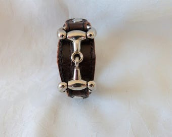 men bracelet leather and metal, Brown double leather crocodile silver metal horse bit
