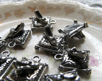 Glass Slipper Pillow Charm - Antiqued Silver Pewter Pendants - Pack of 9 - 13mm
