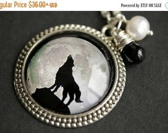 VALENTINE SALE Wolf Necklace. Wolf Pendant. Moon Necklace with Fresh Water Pearl Charm and Black Teardrop. Moon Pendant. Handmade Necklace.