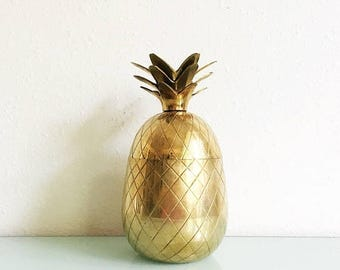 ON SALE Vintage Brass Pineapple Box