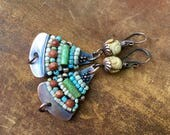 Rustic Boho *Alegria Alegria Series* earrings N333- bohemian jewelry . beaded earrings . wire wrapped jewelry . pink composition . vintage