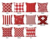 Red Pillow Cover, Decorative Throw Pillow Covers, Euro Pillow Sham 16 x 16, 18 x 18, 20 x 20, 22 x 22, 24 x 24, 26 x 26