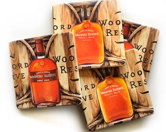 Woodford Reserve Bar Coasters: bourbon, barware drinkware, man cave, hostess wedding gift, whiskey, stock the bar, for him, Kentucky