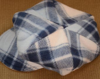 Blue plaid Reversible Newsboy Hat-Small