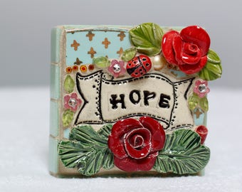 HOPE,  mosaic wall art, gift