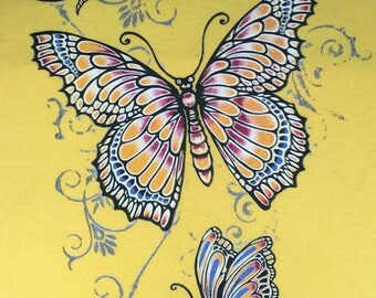 Butterflies t shirt, bright colorful butterflies on bright yellow t shirt
