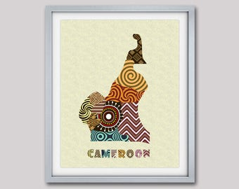 Cameroon Map Art Print Wall Decor, Yaoundé Cameroon Poster,  African Art Print, African Map Poster, West-Central Africa