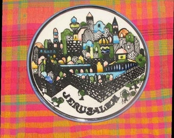 Vintage Mod Jerusalem souvenir  plate to hang or as trivet