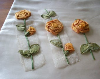flowers rare silk antique authentic ribbon work ribbon