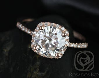 SALE Rosados Box Ready to Ship Barra 8mm 14kt WHITE Gold Round FB Moissanite and Diamonds Cushion Halo Diamond Engagement Ring