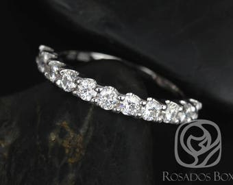 Rosados Box DIAMOND FREE Cori 2.5mm 14kt White Gold Round F1 Moissanite HALFWAY Eternity Band