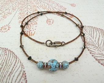 Beaded Necklace, Ceramic Bead Necklace, Swarovski Necklace, Turquoise and Brown Necklace, Rhinestone Necklace, Miminalist Necklace, Dainty