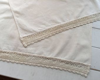 Vintage Table Runner with Hand Crochet Trim