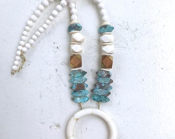 Turquoise and Tusk Necklace