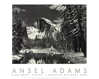 Ansel Adams-Half Dome, Merced River, Winter, Yosemite National Park, California