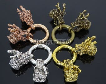Bracelet Necklace Cord End Clasp Solid Metal Dragon Horned Head Gold Silver Bronze Rose Gold