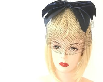 No tears! 50s blue whimsy with bow, navy blue bow with veil, union made
