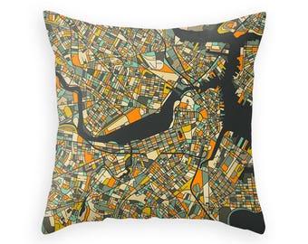 BOSTON MAP Throw Pillow for your Home Décor (dark version)