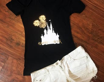 Disney's Happily Ever After Fireworks V-Neck Shirt | Magic Kingdom | Cinderella's Castle | Hidden Mickey | Walt Disney World Shirt