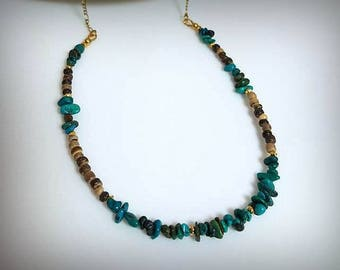turquoise gemstone necklace real turquoise necklace blue stone necklace southwest necklace southwestern jewelry coconut shell necklace