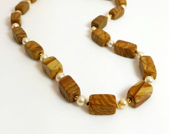 Caramel Brown Jasper Gemstone White Pearl Necklace Magnetic Clasp Necklace Long Natural Stone Necklace Earthy Rustic Beaded Jewelry