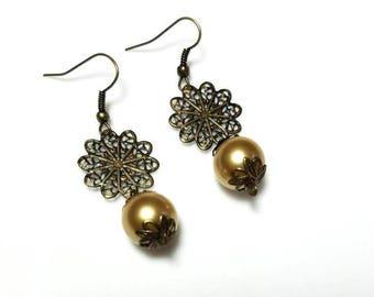Antiqued Brass Drop and Golden Bronze Swarovski Crystal Pearl Earrings Dangling Earrings Beaded Earrings Swarovski Jewelry