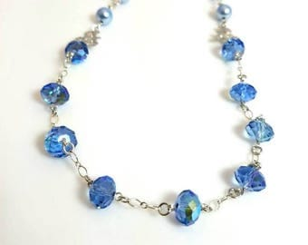 blue crystal blue Swarovski pearl necklace silver flower necklace beaded chain necklace floral nature jewelry necklaces for women
