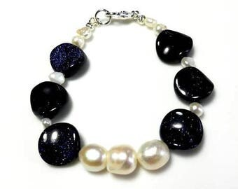 Navy Goldstone Gemstone Bracelet with White Freshwater Cultured Pearls Dark Midnight Blue Beaded Stone Jewelry Chunky Statement Bracelet