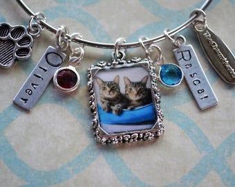 Pet Portrait, Pet Loss, Loss of Pet, Pet Memorial, Custom Pet, Pet Tags, Pet, Cats, Dogs, Blue, Animal, Animal Charms, Pet Photo, Bangle