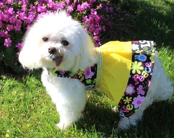 Summer Dog Dress, S M L Spring or Summer dress for dogs, yellow and floral design, lightweight cotton dog dress, fashion dog clothes