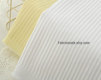 White Yellow Wrinkled Fabric, Heavy Wrinkle Stripes Cotton Fabric - 1/2 yard