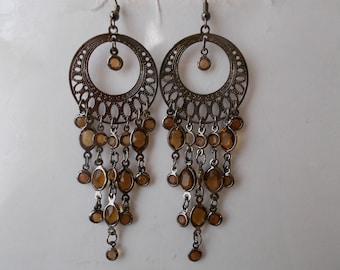 Bronze Tone Hoop Earrings with  Brown Bead Dangles
