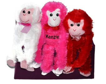 Personalized Valentine Money, Personalized Stuffed Animal, Custom Stuffed Animal,  Valentine Gift, Plush Red, Pink or White Monkey