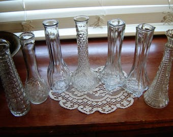 Vintage tall vases 9 inch tall clear glass vases set of 7 retro chic wedding table decor centerpiece