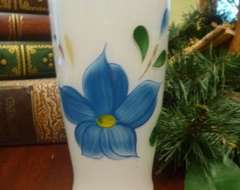 Hazel Atlas Frosted Tumbler With Hand Painted Blue Flower,    10 Oz   (T)